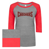 ENZA Ladies Athletic Heather/Red Vintage Triblend Baseball Tee-Charlotte Checkers Red Glitter