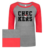ENZA Ladies Athletic Heather/Red Vintage Triblend Baseball Tee-Block Text Design