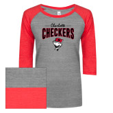 ENZA Ladies Athletic Heather/Red Vintage Triblend Baseball Tee-Charlotte Checkers Stacked Design