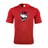Performance Red Heather Contender Tee-Bear Head w/ Flag