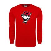 Red Long Sleeve T Shirt-Bear Head w/ Flag