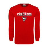 Red Long Sleeve T Shirt-Charlotte Checkers Stacked w Flag logo