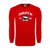Red Long Sleeve T Shirt-Arched Charlotte NC Est 2010 Stacked