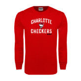 Red Long Sleeve T Shirt-Arch Charlotte Checkers Hockey Distressed Type