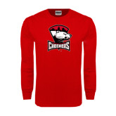 Red Long Sleeve T Shirt-Charlotte Checkers - Offical Logo Distressed