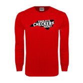 Red Long Sleeve T Shirt-Charlotte Checkers Hockey in State