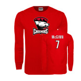 Red Long Sleeve T Shirt-Charlotte Checkers - Offical Logo