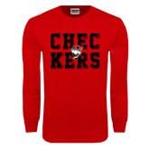 Red Long Sleeve T Shirt-Block Text Design