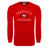 Red Long Sleeve T Shirt-Charlotte Checkers AHL Design