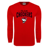 Red Long Sleeve T Shirt-Charlotte Checkers Stacked Design