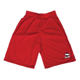 Midcourt Performance Red 9 Inch Game Short-Charlotte Checkers - Offical Logo