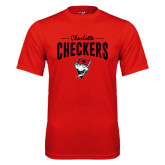 Syntrel Performance Red Tee-Charlotte Checkers Stacked Design