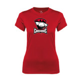 Ladies Syntrel Performance Red Tee-Charlotte Checkers - Offical Logo