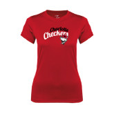 Ladies Syntrel Performance Red Tee-Charlotte Checkers Script