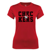 Ladies Syntrel Performance Red Tee-Block Text Design
