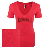 Next Level Ladies Vintage Red Tri Blend V-Neck Tee-Charlotte Checkers Red Glitter