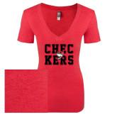 Next Level Ladies Vintage Red Tri Blend V-Neck Tee-Block Text Design