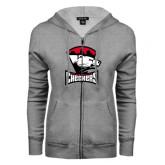 ENZA Ladies Grey Fleece Full Zip Hoodie-Charlotte Checkers - Offical Logo