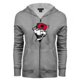 ENZA Ladies Grey Fleece Full Zip Hoodie-Bear Head w/ Flag