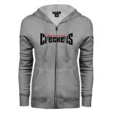ENZA Ladies Grey Fleece Full Zip Hoodie-Charlotte Checkers