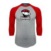 Grey/Red Raglan Baseball T-Shirt-Charlotte Checkers - Offical Logo