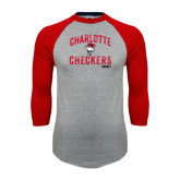 Grey/Red Raglan Baseball T-Shirt-Arch Charlotte Checkers Hockey Distressed Type