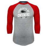 Grey/Red Raglan Baseball T-Shirt-Charlotte NC Est 2010