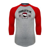 Grey/Red Raglan Baseball T-Shirt-Arched Charlotte NC Est 2010 Stacked