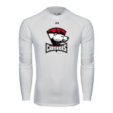 Under Armour White Long Sleeve Tech Tee-Charlotte Checkers - Offical Logo