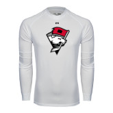 Under Armour White Long Sleeve Tech Tee-Bear Head w/ Flag