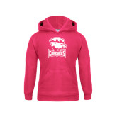 Youth Raspberry Fleece Hood-Charlotte Checkers - Offical Logo