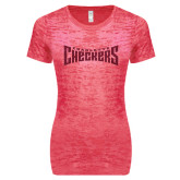 Next Level Ladies Junior Fit Fuchsia Burnout Tee-Charlotte Checkers Hot Pink Glitter