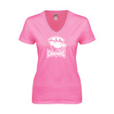 Next Level Ladies Junior Fit Deep V Pink Tee-Charlotte Checkers - Offical Logo