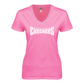 Next Level Ladies Junior Fit Deep V Pink Tee-Charlotte Checkers