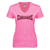 Next Level Ladies Junior Fit Deep V Pink Tee-Charlotte Checkers Hot Pink Glitter