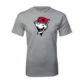 Sport Grey T Shirt-Bear Head w/ Flag