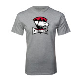 Sport Grey T Shirt-Charlotte Checkers - Offical Logo Distressed
