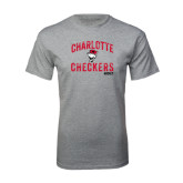 Sport Grey T Shirt-Arch Charlotte Checkers Hockey Distressed Type