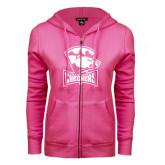 ENZA Ladies Fuchsia Fleece Full Zip Hoodie-Charlotte Checkers - Offical Logo