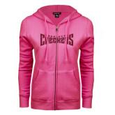 ENZA Ladies Fuchsia Fleece Full Zip Hoodie-Charlotte Checkers Hot Pink Glitter