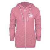 ENZA Ladies Hot Pink Marled Full Zip Hoodie-Charlotte Checkers - Offical Logo
