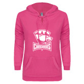ENZA Ladies Hot Pink V-Notch Raw Edge Fleece Hoodie-Charlotte Checkers - Offical Logo