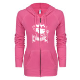 ENZA Ladies Hot Pink Light Weight Fleece Full Zip Hoodie-Charlotte Checkers - Offical Logo