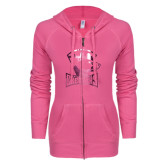 ENZA Ladies Hot Pink Light Weight Fleece Full Zip Hoodie-Charlotte Checkers - Offical Logo Foil
