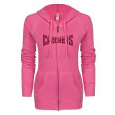 ENZA Ladies Hot Pink Light Weight Fleece Full Zip Hoodie-Charlotte Checkers Hot Pink Glitter