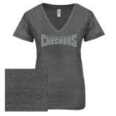 ENZA Ladies Graphite Melange V Neck Tee-Charlotte Checkers Silver Soft Glitter