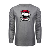 Grey Long Sleeve T Shirt-Charlotte Checkers - Offical Logo
