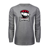 Grey Long Sleeve T Shirt-Charlotte Checkers - Offical Logo Distressed
