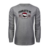 Grey Long Sleeve T Shirt-Arched Charlotte NC Est 2010 Stacked