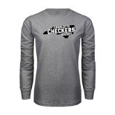 Grey Long Sleeve T Shirt-Charlotte Checkers Hockey in State